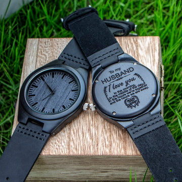 Engraved Wooden Watch for Husband Son Natural Ebony Customized Gift
