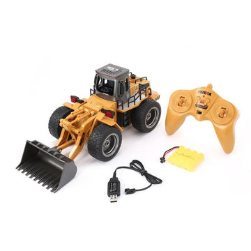 RC Metal Bulldozer Remote Car Truck Construction Toy Gift For Kids
