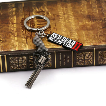 Red Dead Redemption 2 Keychain Metal Key Ring Chain 3D Gun