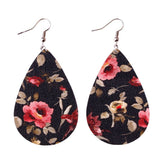Floral Leather Teardrop Earrings Spring Fashion