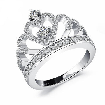 Princess Style Sterling Silver Hollow Heart Rings | Crown Rings