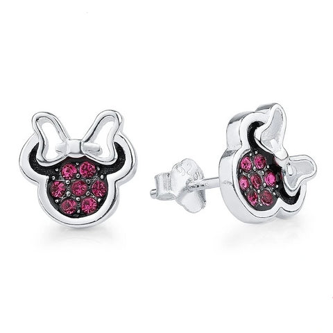 925 Sterling Silver Minnie Stud Earrings Red Cubic Zirconia