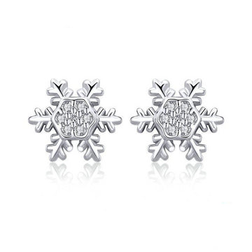 Sterling Silver Winter Snowflake Stud Earrings