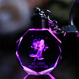 Personalized Key Chain with Engraved Zodiac Crystal Pendant