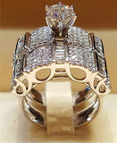 Vintage Crystal Luxury Promise Silver Engagement Wedding Rings