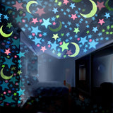 Glow In The Dark Stars Moons Wall Stickers | Fluorescent Wall Decors