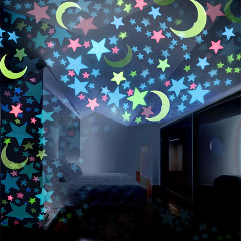 Glow In The Dark Stars Moons Wall Stickers | Fluorescent Wall Decals Decors