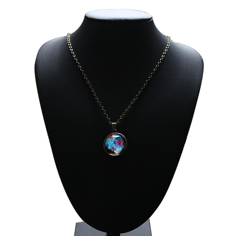 Time Gem Nebula Galaxy Planet Universe Necklace