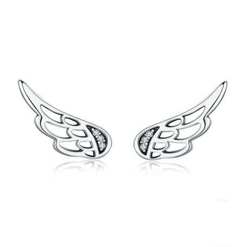 Sterling Silver Feather Fairy Wings Stud Earrings