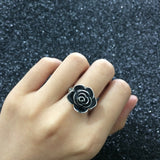 Black Rose Ring with CZ Gift For Women Valentine Days