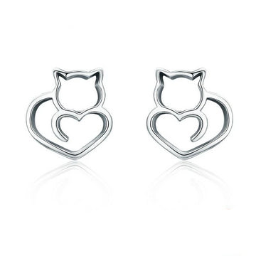 Sterling Silver Cute Cat Small Stud Earrings