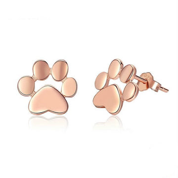Sterling Silver Animal Dog Cat Footprints Stud Earrings