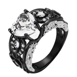 Black Angle Wings Heart Rings for Women
