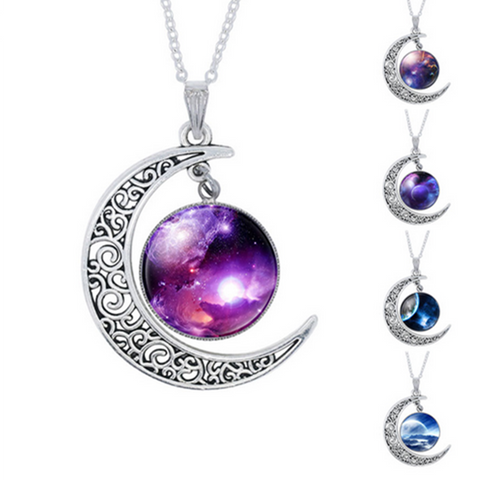 Fashion Purple Nebula Space Universe Pendant Necklace
