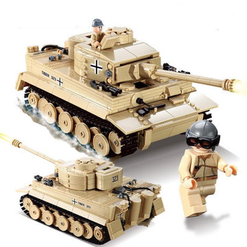 995pcs Military German King Tiger Tank Cannon Building Blocks
