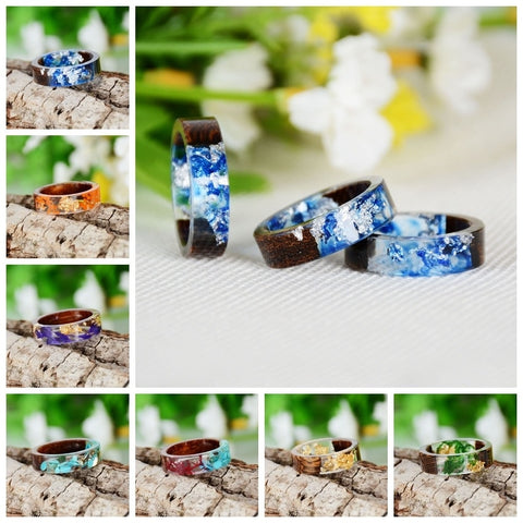 Handmade Wooden Ring with Flowers Plants Inside, Engagement Ring