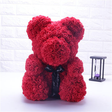 Red Teddy Bear Rose Flower Artificial Gifts for Women Valentine's Day