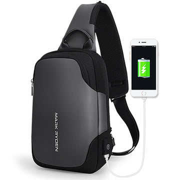 Anti-thief, Waterproof Crossbody Bag With USB Changer For Ipad