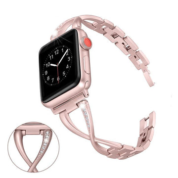 Women Diamond Stainless Steel Strap Apple Watch Bands