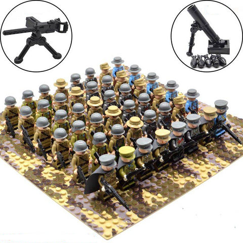 48pcs/set WW2 Soldiers Military Army Troops Building Blocks Bricks Toys