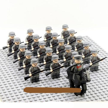 21pcs Army Horse Troop & Military Team Weapon Building Blocks