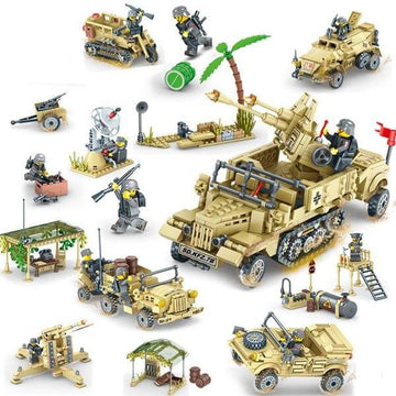 Military Building Blocks Sets Armored Car Gun Army Soldiers Bricks