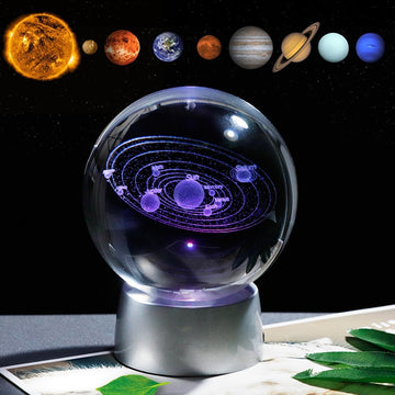Crystal Solar System Ball with LED Base
