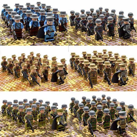 21PCs/set WWII Army Military Building Blocks German France Italy Japan Britain