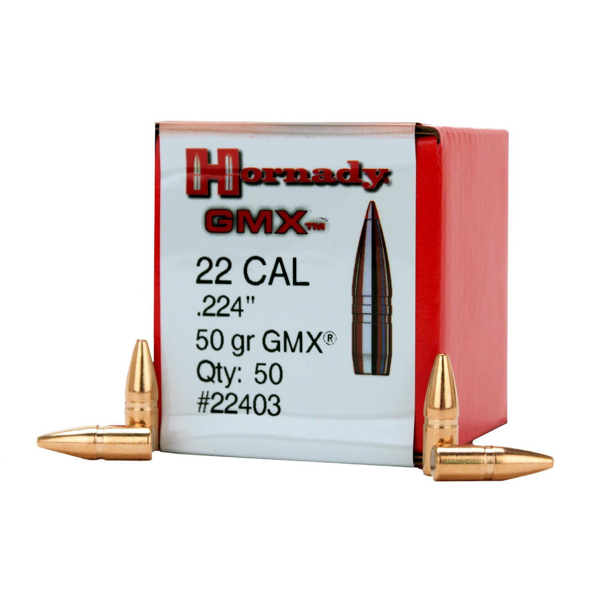 ".22 Caliber (0.224"" Diameter) Bullets - GMX, 50 Grains, Lead Free Jacketed Hollow Point Flat Blase (JHP-FB), Per 50"