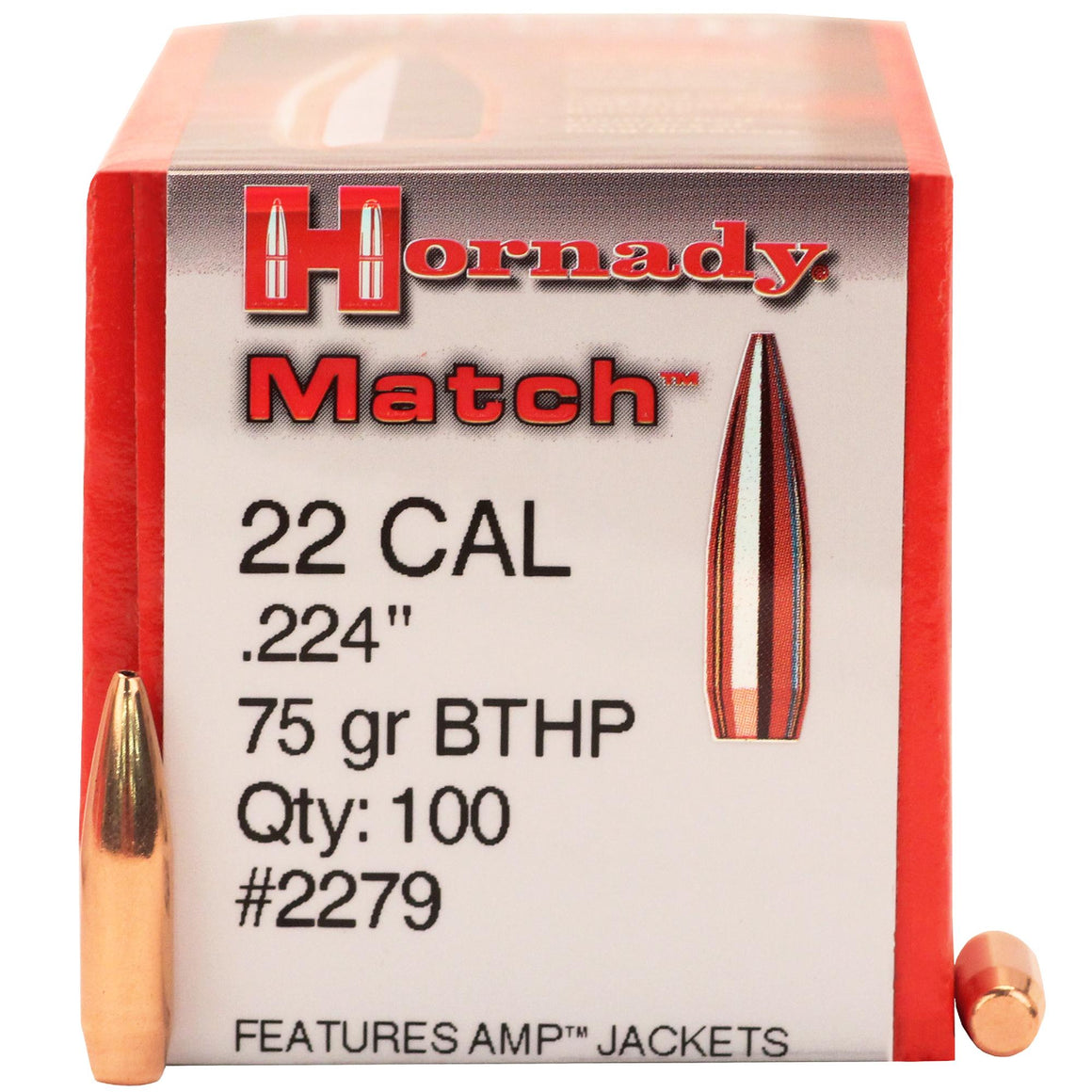 ".22 Caliber (0.224"" Diameter) Bullets - atch, 75 Grains, Hollow Point Boat Tail (HPBT), Per 100"