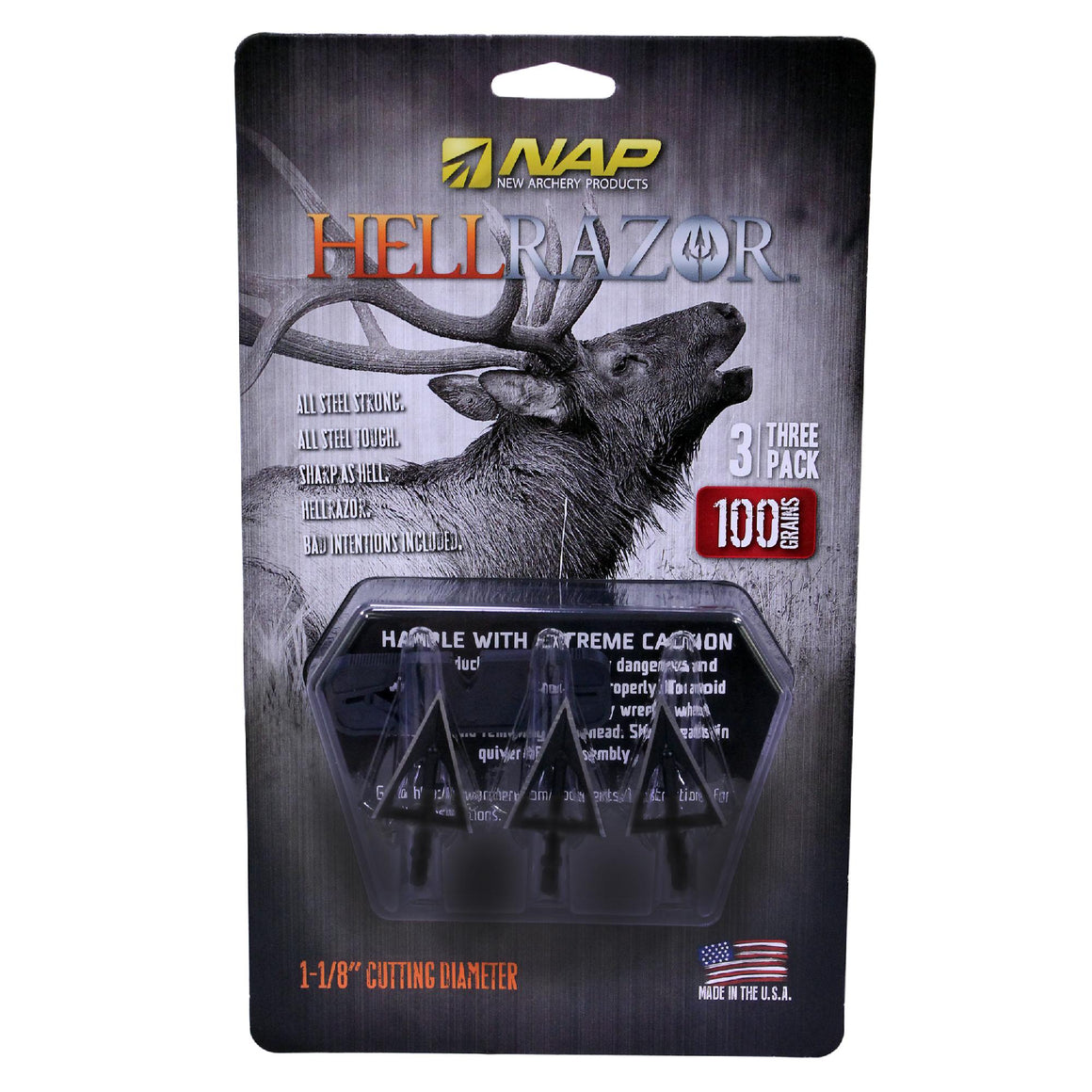 "Fixed Broadhead - Hellrazor, 3 Blades, 100 Grains, 1 1-8"" Cutting Diameter, Per 3"