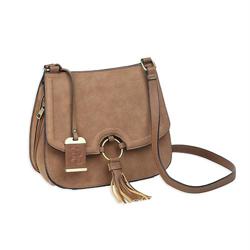 Cross Body Style Purse - with Holster, Camel Suede