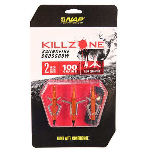 Crossbow Broadheads, Killzone Swingfire, 100 Grains, Package of 3
