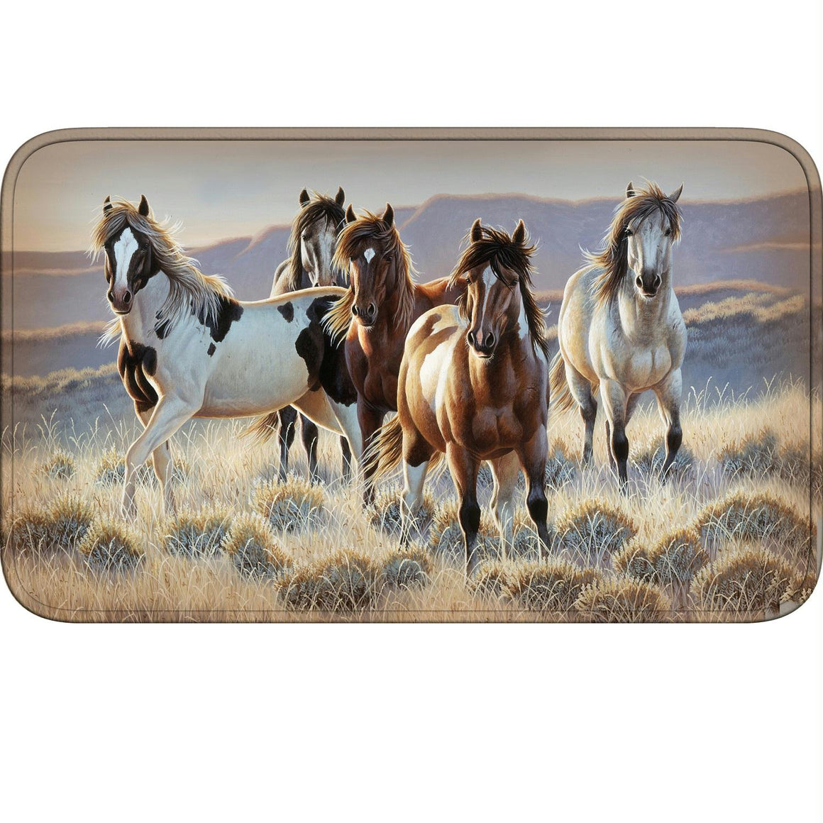 Rivers Edge Running Horses Memory Foam Mat 31.5in x 20in
