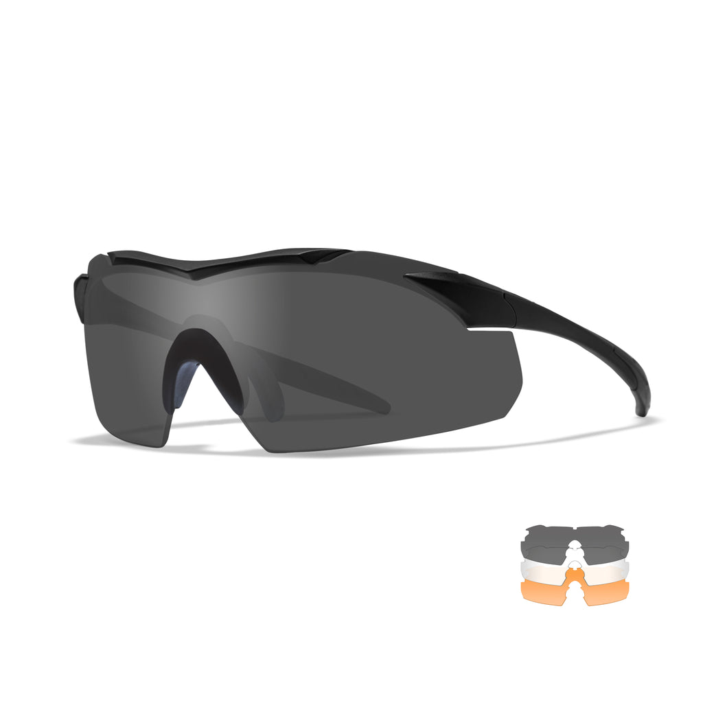 Wiley X Vapor Sunglasses - Smoke Grey - Clear - Light Rust Lenses /Matte Black Frame- 3502