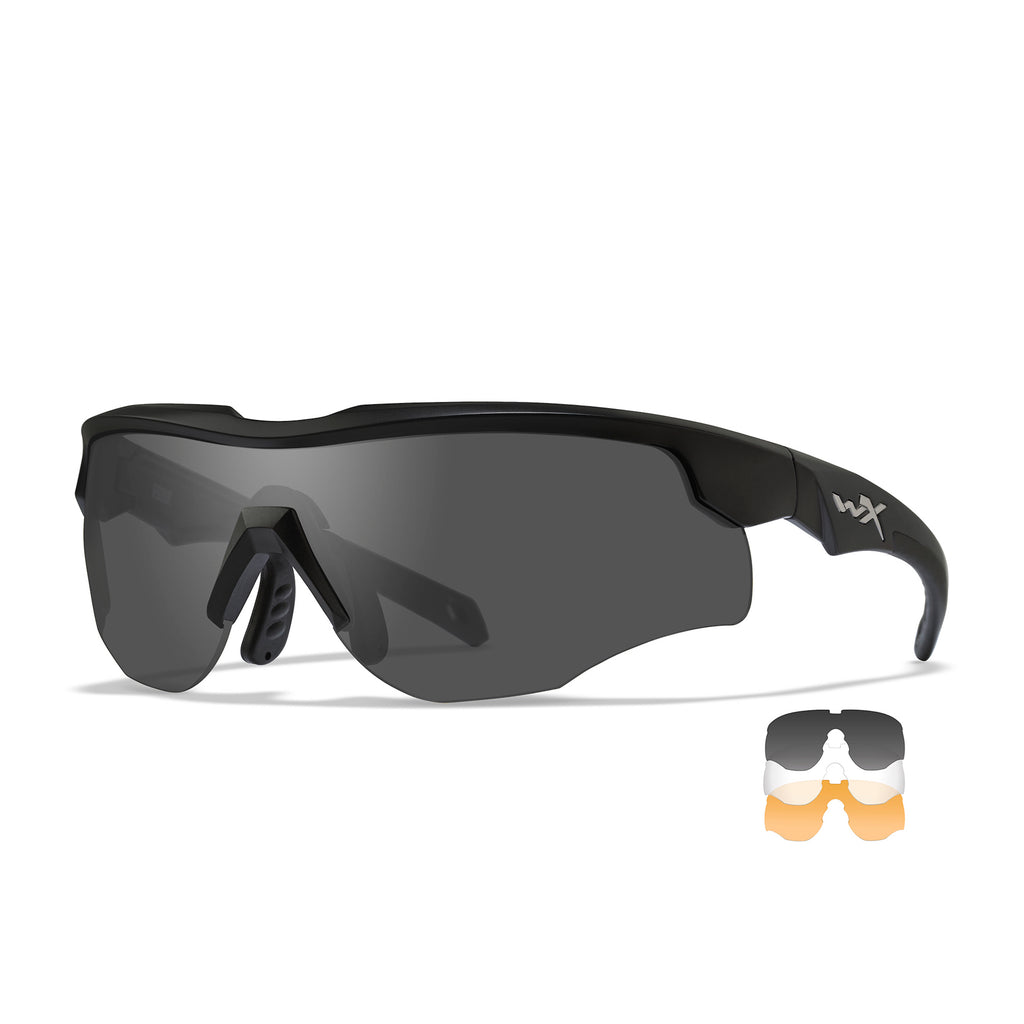 Wiley X Rogue  Sunglasses - Smoke Grey- Clear- Light Rust Lenses /Matte Black Frame /Comm Temple - 2852 - Tactical Sports Gear