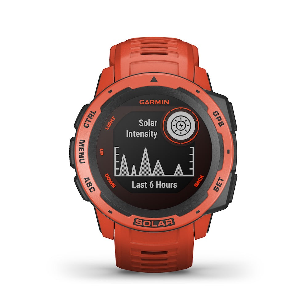 Garmin Instinct Solar Rugged GPS Smartwatch - Solar Charging - Flame Red - Tactical Sports Gear