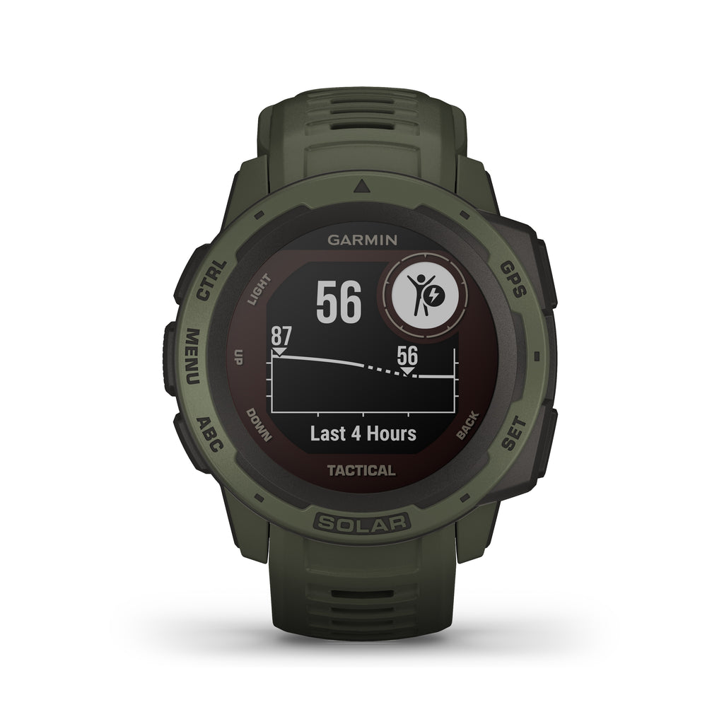 Garmin Instinct Solar Rugged GPS Smartwatch - Solar Charging - Tactical, Moss - Tactical Sports Gear