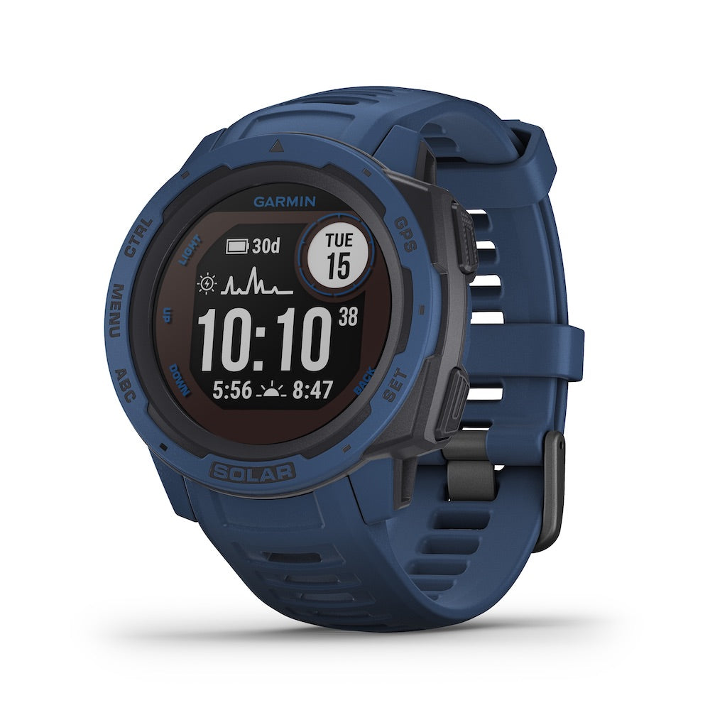 Garmin Instinct Solar Rugged GPS Smartwatch - Solar Charging - Color: Tidal Blue - Tactical Sports Gear