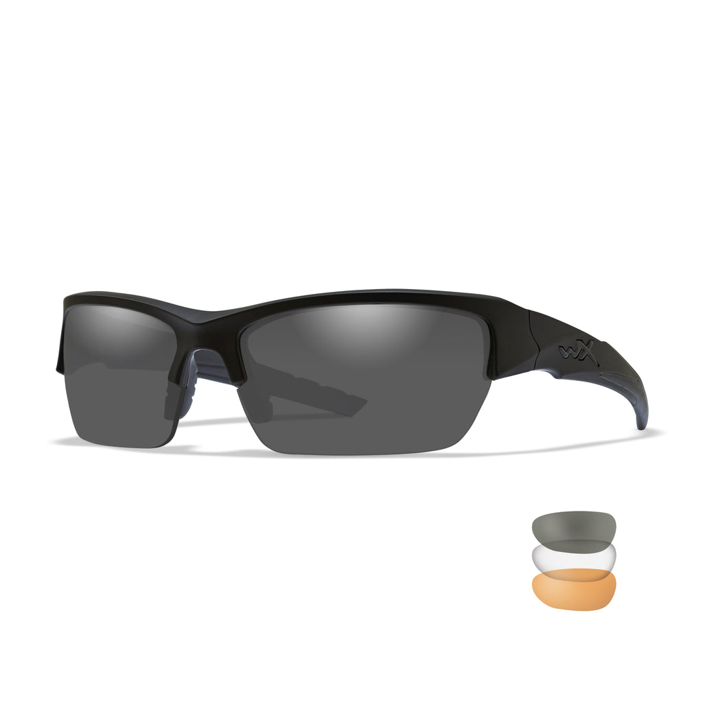Wiley X WX Valor Sunglasses - Smoke Grey - Clear - Light Rust Lenses /Matte Black Frame - CHVAL06 - Tactical Sports Gear