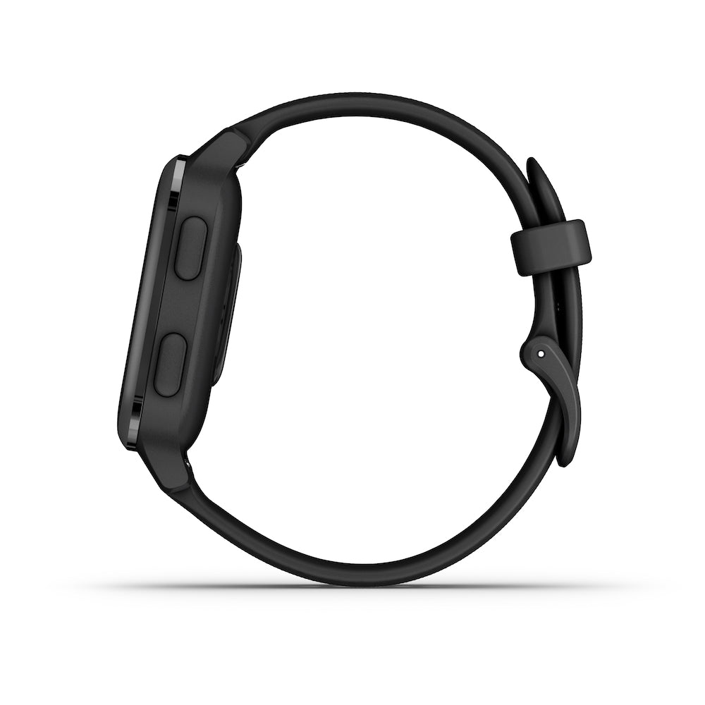 Garmin Venu Sq – Music Edition, Slate Aluminum Bezel with Black Case and Silicone Band