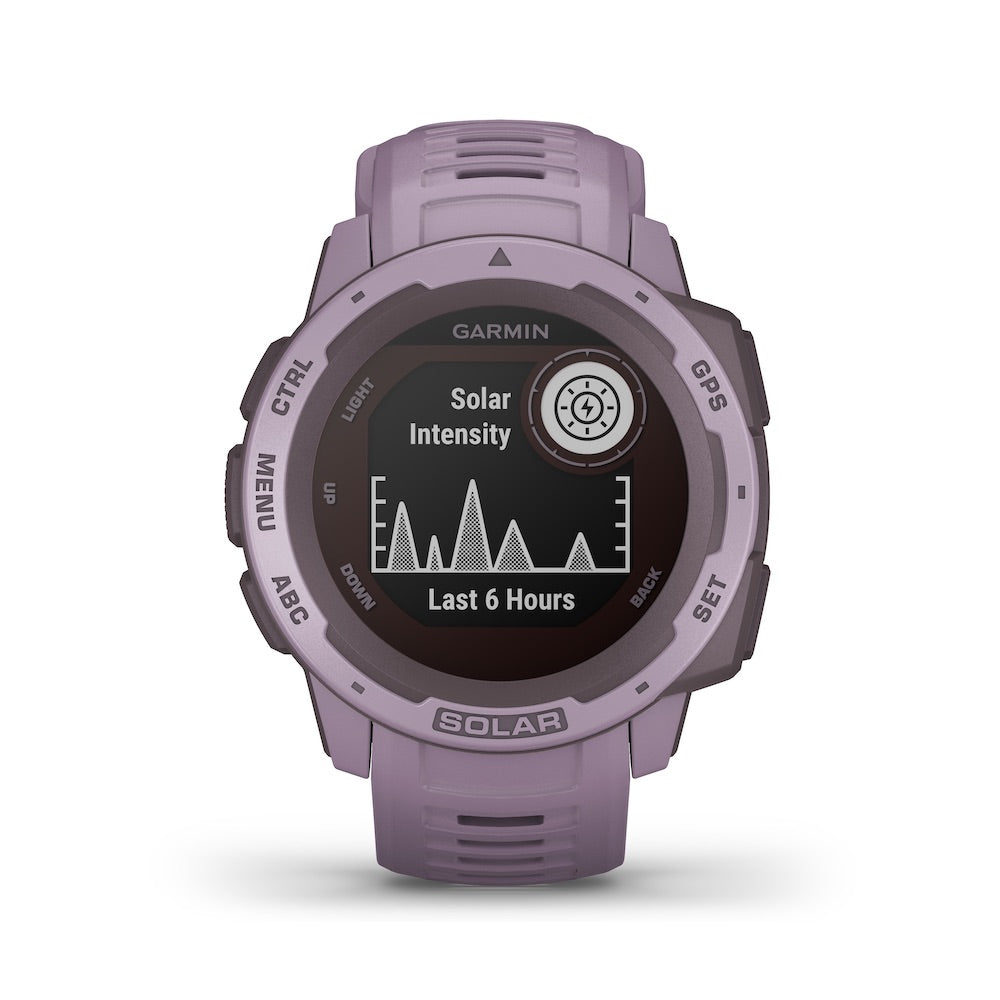 Garmin Instinct Solar Rugged GPS Smartwatch - Solar Charging - Color: Orchid - Tactical Sports Gear