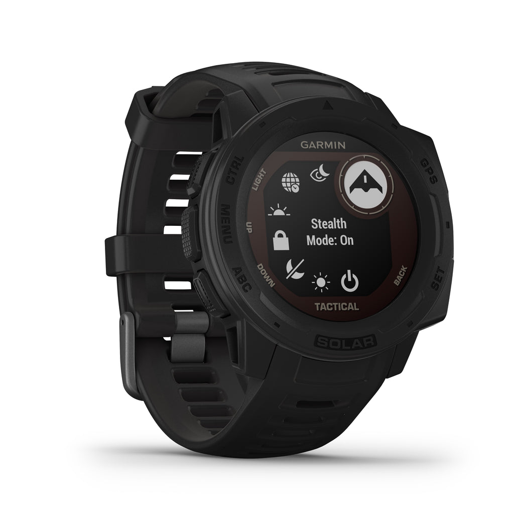 Garmin Instinct Solar Rugged GPS Smartwatch - Solar Charging - Tactical, Black - Tactical Sports Gear