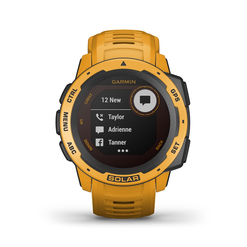 Garmin Instinct Solar Rugged GPS Smartwatch - Solar Charging - Color: Sunburst - Tactical Sports Gear