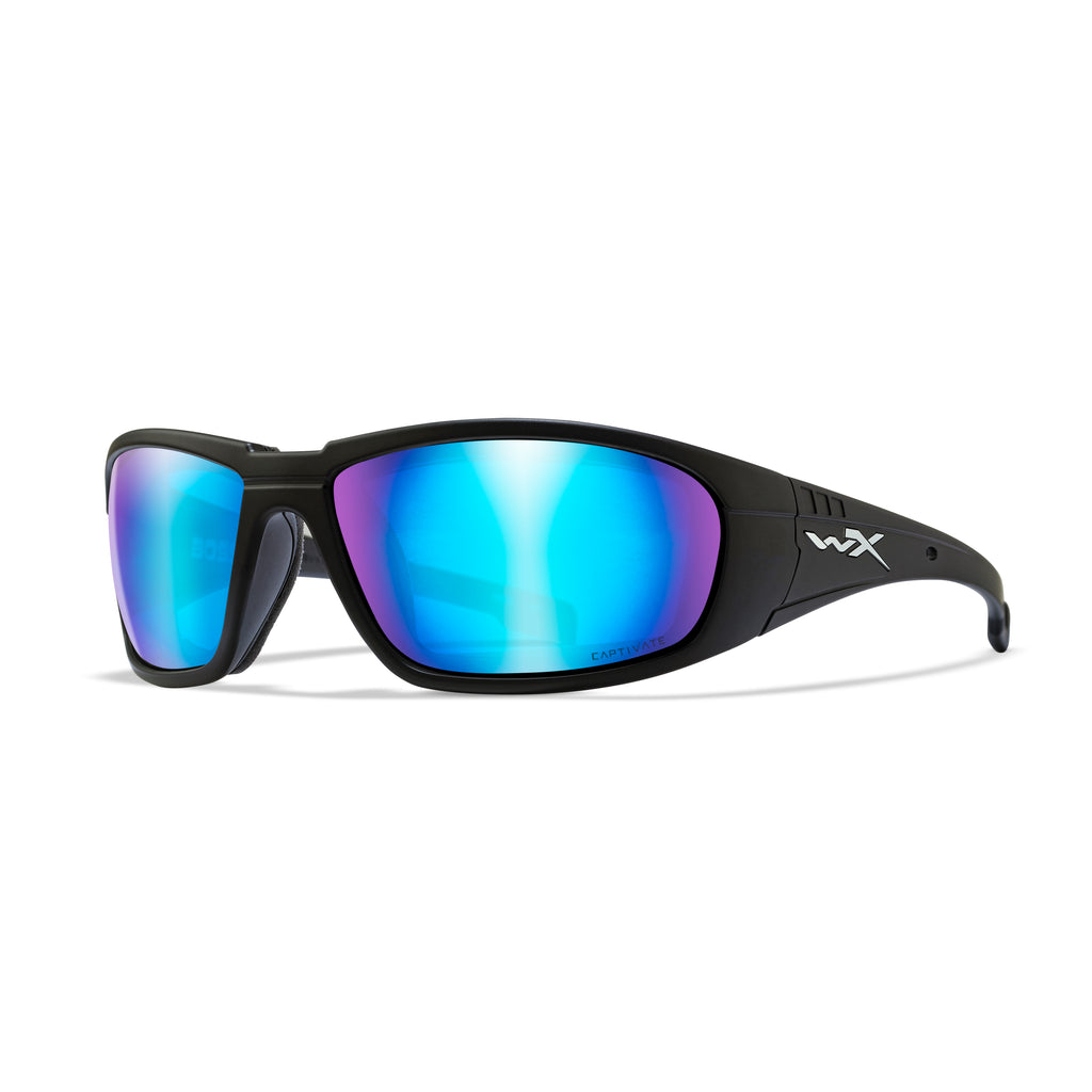 Wiley X WX Boss Sunglasses Captivate Polarized Blue Mirror/Matte Black - CCBOS09 - Tactical Sports Gear
