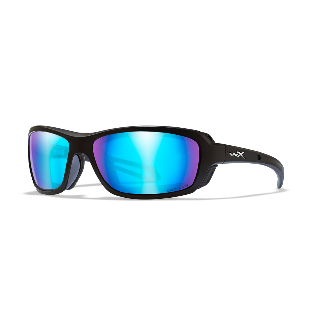 Wiley X WX Wave Sunglasses - Captivate Polarized Blue Mirror/Matte Black - CCWAV10 - Tactical Sports Gear
