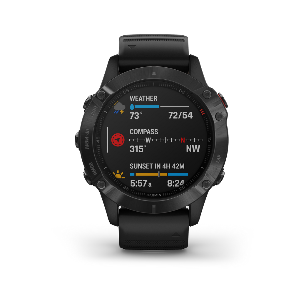 Garmin fenix 6 Pro GPS Watch, Black with Black Band - Tactical Sports Gear