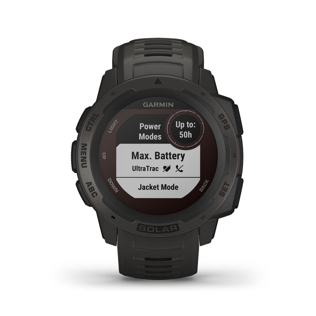 Garmin Instinct Solar Rugged GPS Smartwatch - Solar Charging - Color: Graphite - Tactical Sports Gear
