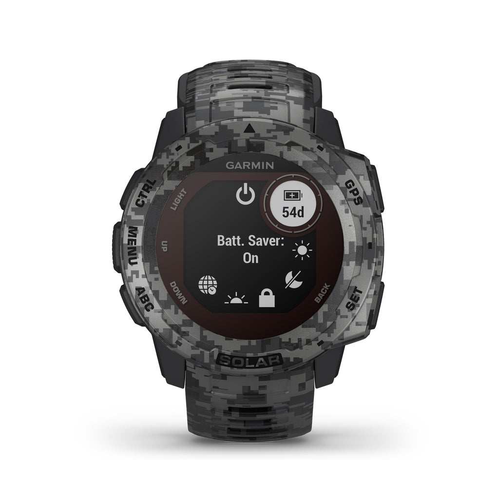 Garmin Instinct Solar Rugged GPS Smartwatch - Solar Charging - Graphite Camo - Tactical Sports Gear