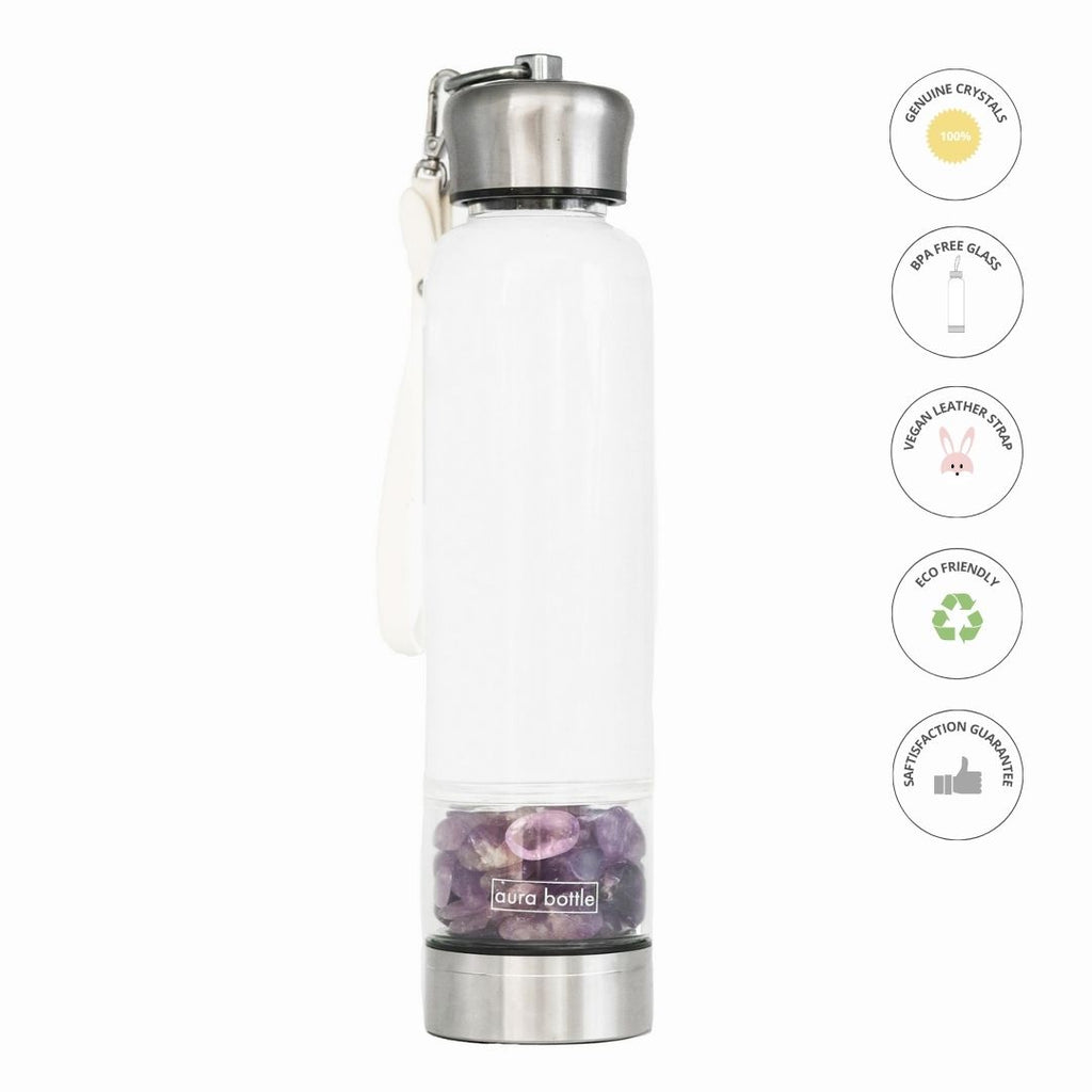 Amethyst Crystal Bottle Bundle in 450ml by Aura Bottle Australia. Amethyst is a calming stone for your mind, body and soul. I provide gentle protection, emotional stabilisation and strengthen your intuition.